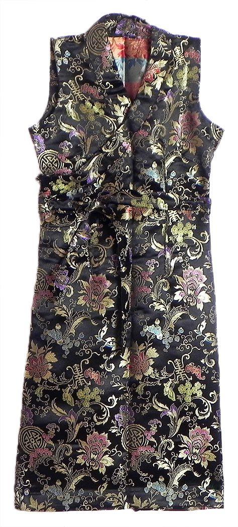 Black Brocade Silk Sikkimese Dress (Silk)