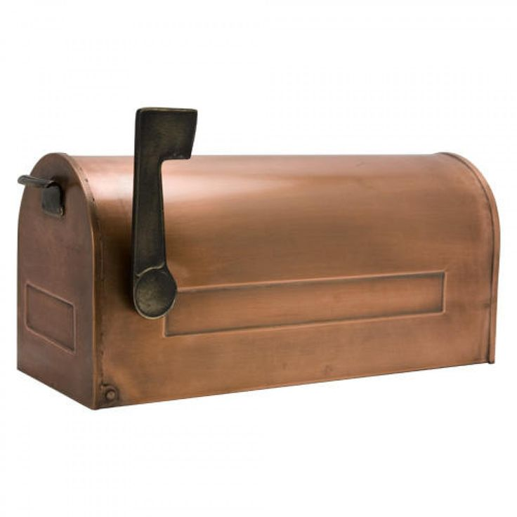Traditional Post Mount Copper Mailbox with Brass Flag