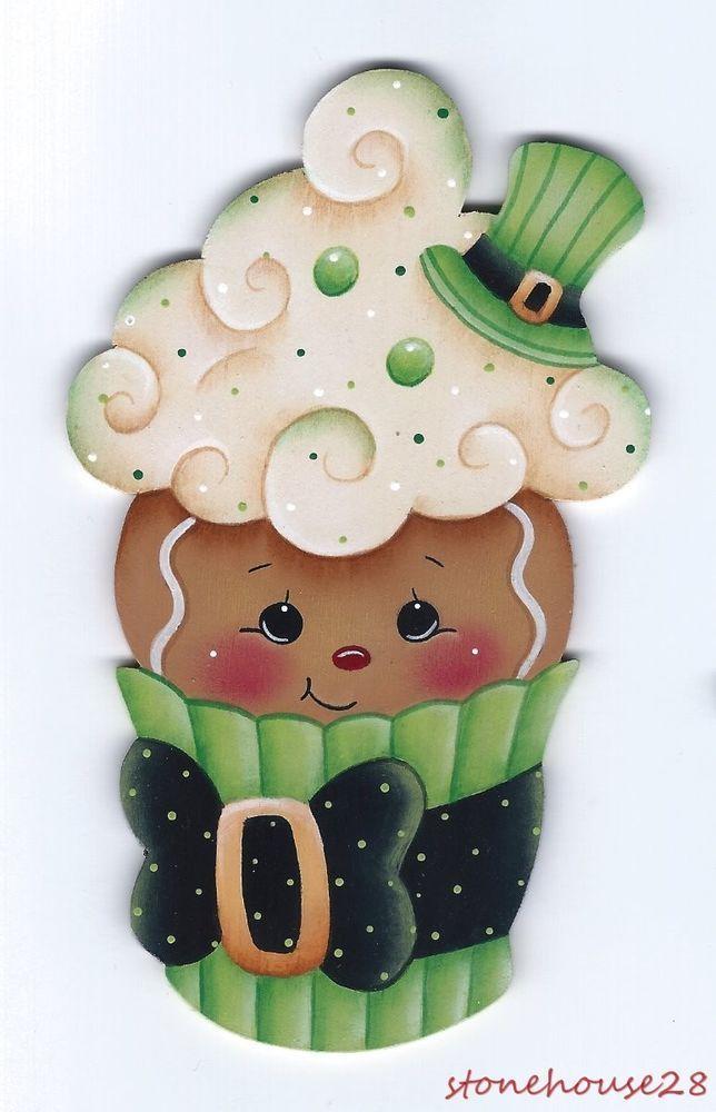 HP GINGERBREAD St.Patrick's Day Cupcake FRIDGE MAGNET #Handpainted