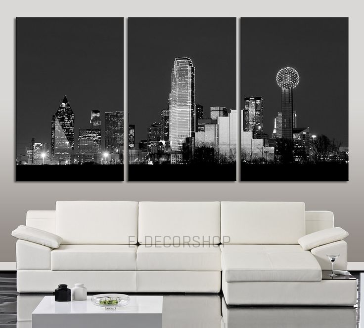 CANVAS ART Print Dallas at Night Skyline - Wall Art Canvas Dallas City Skyline at Night Shot Over the Trinity River