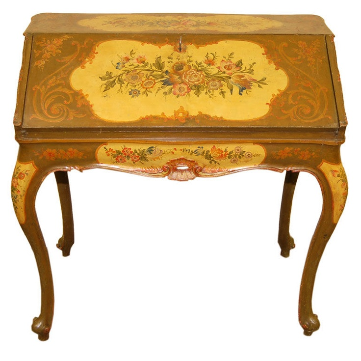 19th Century Painted Italian Desk. So in love. Reminds me of a desk my great-grandmother had in her kitchen. :)
