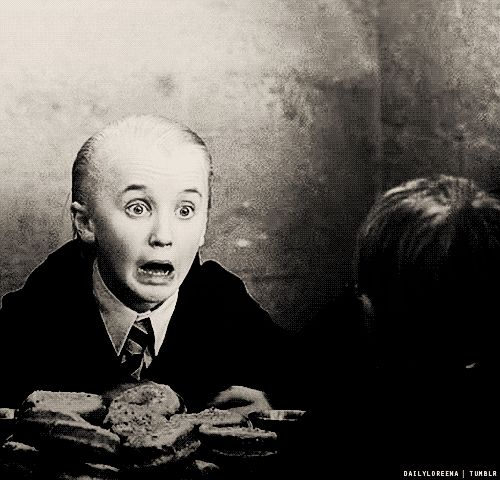 """#Draco Malfoy #scared """"trollll in the dungeon!"""" (for those who dont know why Draco is totally freaked in this scene)"""