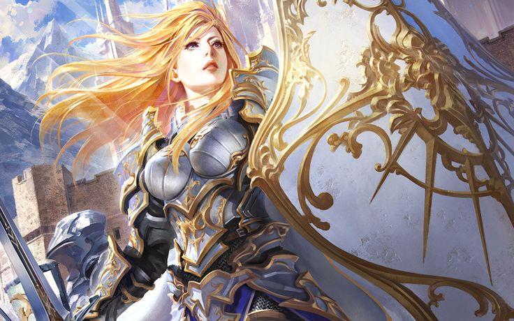 Воин, девушка, блондинка, доспехи, щит, меч, арт, фантазия