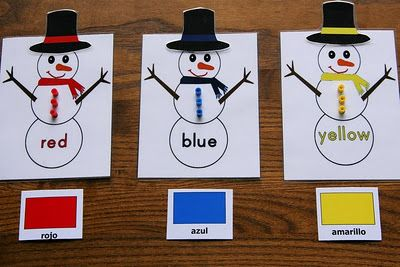 Montessori-Inspired Snowman Color Activities at PreK + K Sharing: Center Ideas, Preschool Lessons Plans, Montessori Inspiration Snowman, Winter Colors, Colors Activities, Teaching Colors, Fine Motors, Snowman Colors, Colors Matching