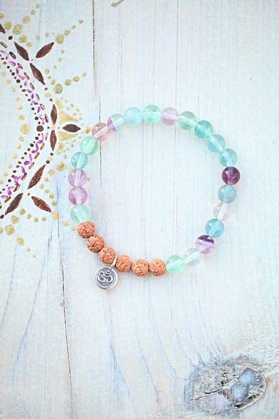 Fluorit/Rudraksha/Bracelet/Green/Purple/Yoga/Charm/Meditation/
