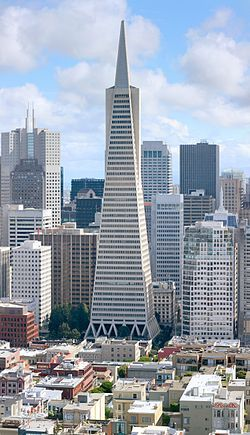 The Transamerica Pyramid is the tallest skyscraper in the San Francisco skyline and one of its most iconic. Although the building no longer houses the headquarters of the Transamerica Corporation, it is still strongly associated with the company and is depicted in the company's logo. Designed by architect William Pereira and built by Hathaway Dinwiddie Construction Company, at 260 m (850 ft), upon completion in 1972 it was among the five tallest buildings in the world. #wikipedia