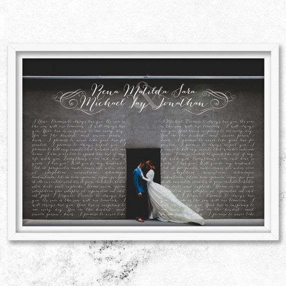 "Wedding vows    A personalized ""Wedding vows"" with calligraphy art on your wedding photo.  This lovely wall hanging art can be personalized to your"