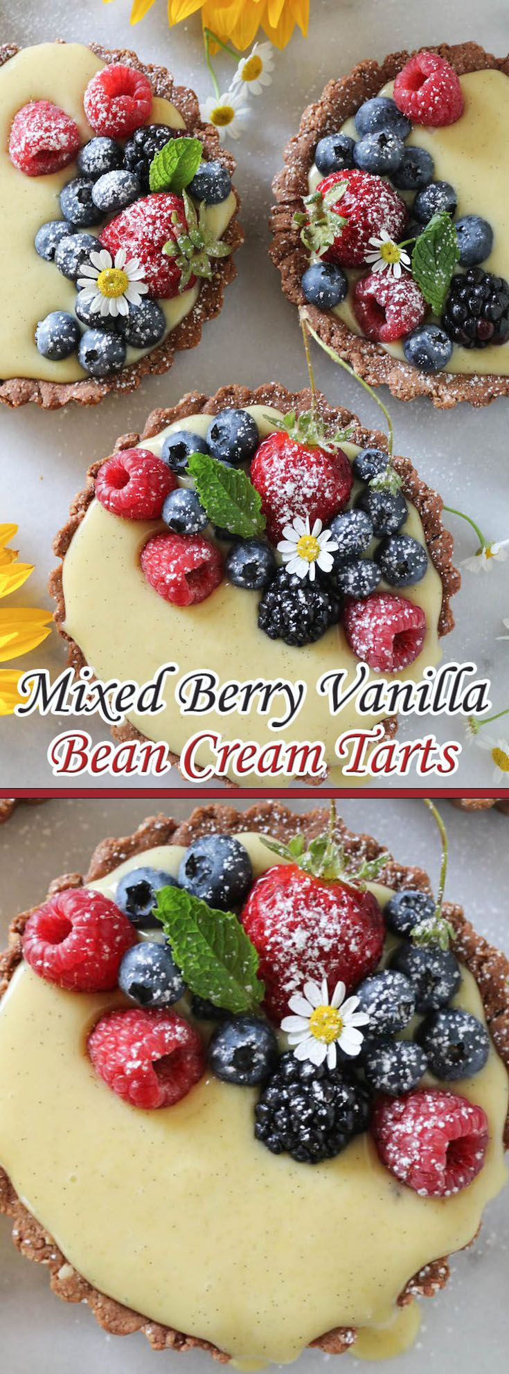 Mixed Berry Vanilla Bean Cream Tarts                              …