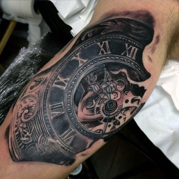 Mens Steampunk Pocket Watch Tattoo On Elbows