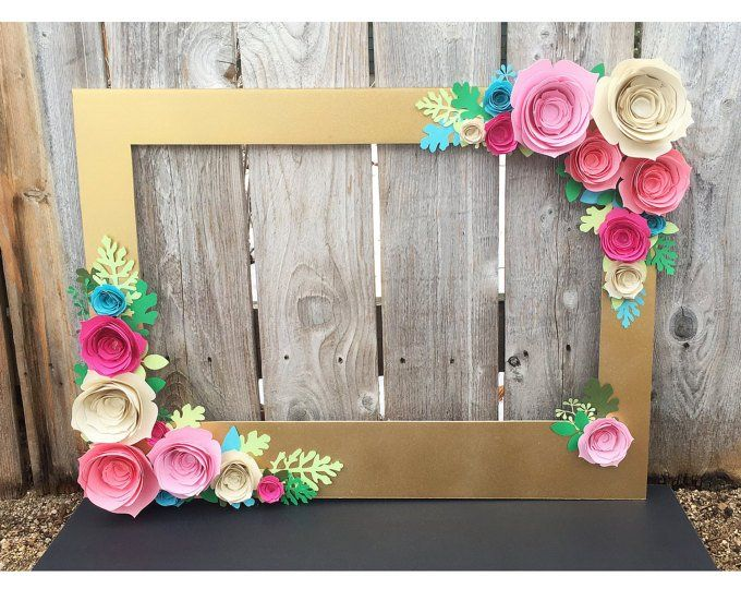Gold Floral Frame Photo Booth Prop With 3d Flowers Perfect Etsy