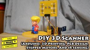 DIY 3D Scanner (Arduino, 3D Printing, PCB Design, Stepper Motors, IR Sensing) - Super Make Something - YouTube