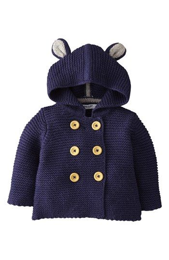Mini Boden Knit Mouse Ears Jacket (Baby Boys) | Nordstrom