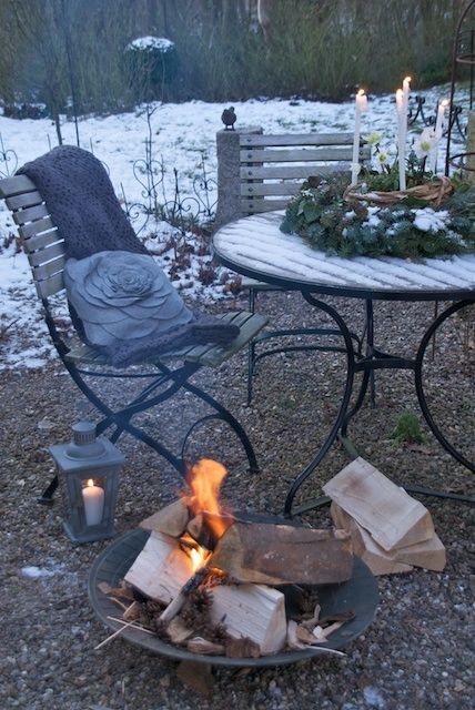 Warm fire in the melting snow!