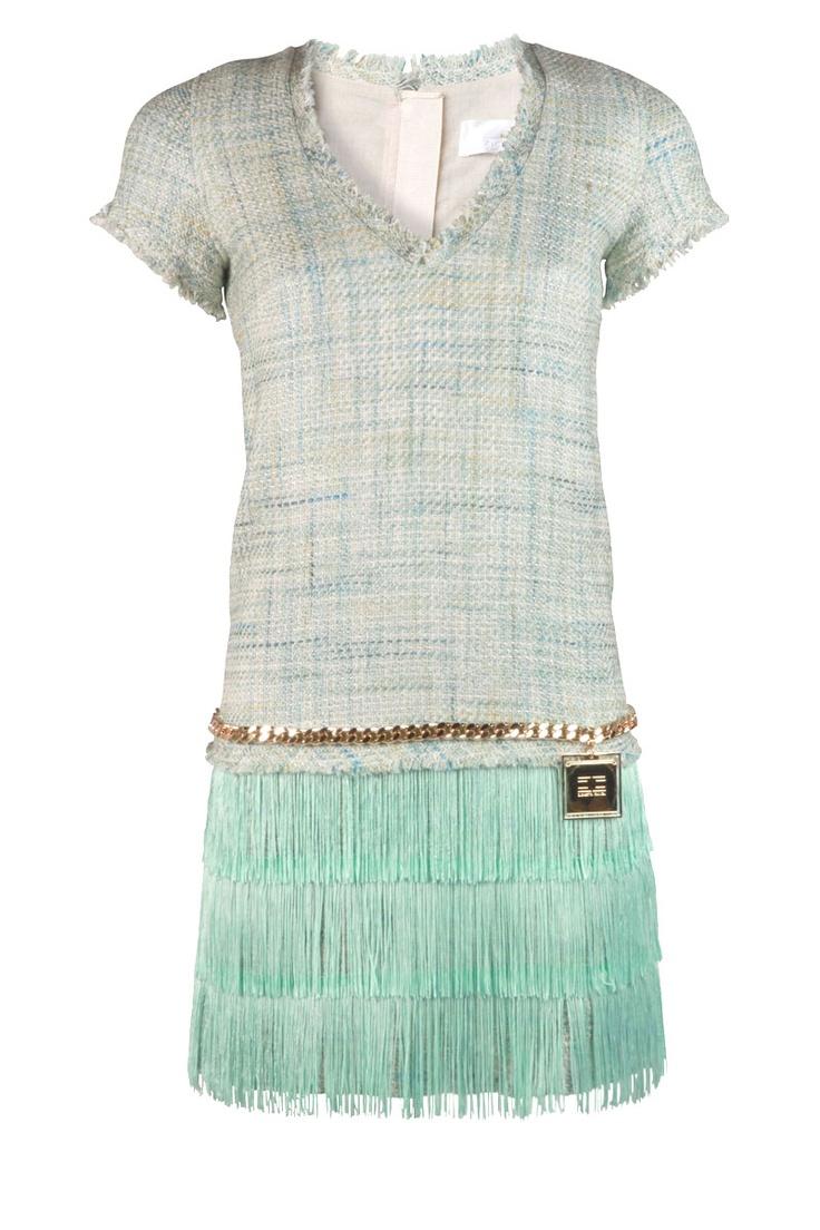 Tweed jurk Magnolia | aqua | ELISABETTA FRANCHI | Little Soho | The Online Fashion Boutique