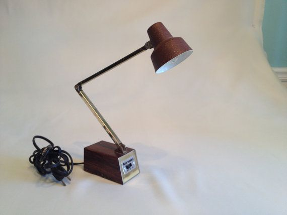 Tensor Desk Lamp Brown Desk Lamp Vintage Desk Lamp Faux Wood Grain on Etsy, $20.00