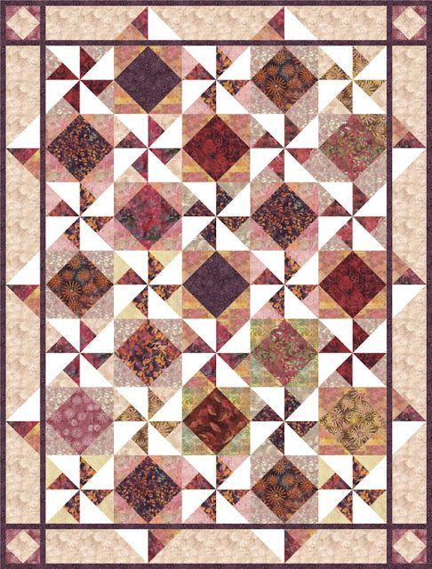 Free pattern download from Timeless Treasures. Designed for their Tonga Passion Fruit batiks fabric collection, but beautiful with any fabric! Pinwheels and Diamond in the Square blocks. Pieced Brain
