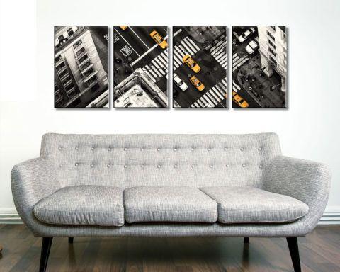 Yellow Flow New York Cabs 4 Panel Wall Art Canvas print Set