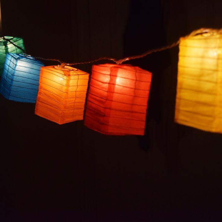 Multi-Color Hako Box Shaped Paper Lantern String String Lights (8FT, Expandable) Paper ...
