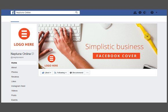 Simple Business Facebook Cover by NeptuneOnline on @creativemarket