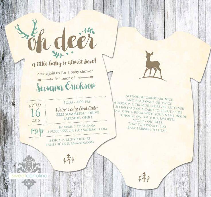 OH Deer Baby Shower Invitation - Onesie Shaped Oh Deer Shower Invitation - Woodland - 5x7 - Set of 25 by SweetCartolina on Etsy https://www.etsy.com/listing/288534701/oh-deer-baby-shower-invitation-onesie