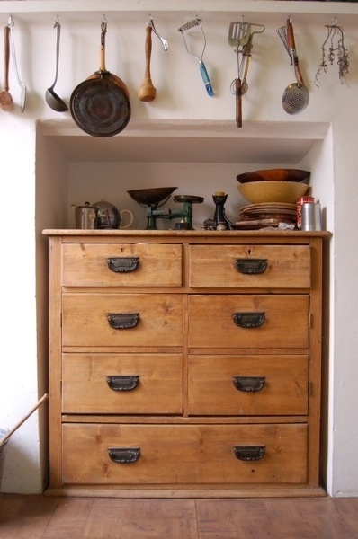 kitchen storage. Love chest of drawers as storage in any room - bathrooms too.