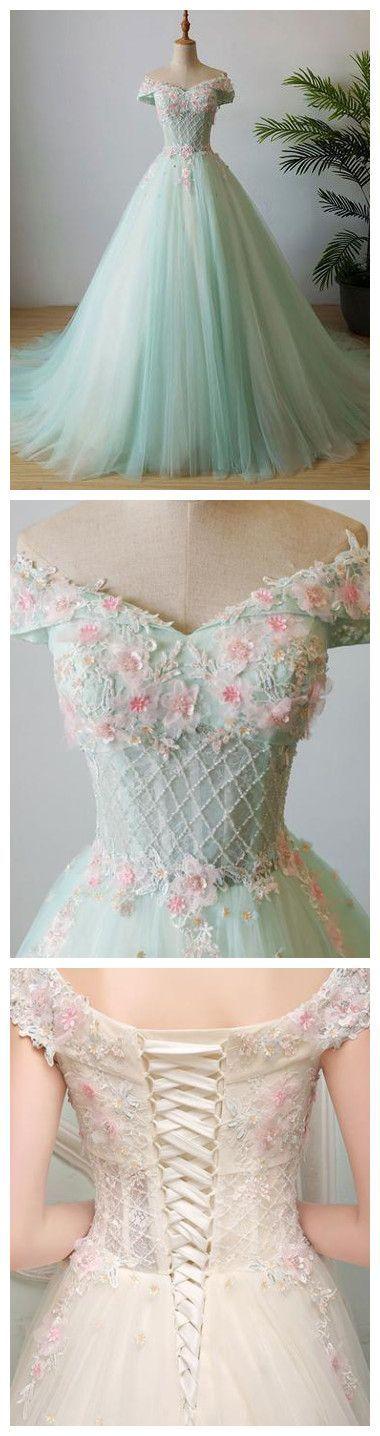 Off-the-shoulder Prom Dress Floor-length Appliques Tulle Prom Dress/Evening Dress P0772
