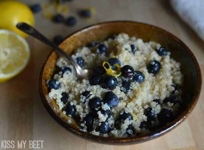 Lemon Blueberry Quinoa Breakfast Bowl - Healthy Recipe - Gluten Free - kissmybeet.com