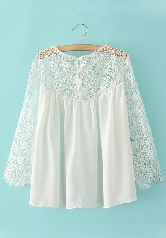 White Plain Lace Hollow-out Nine's Sleeve Blouse - Blouses - Tops