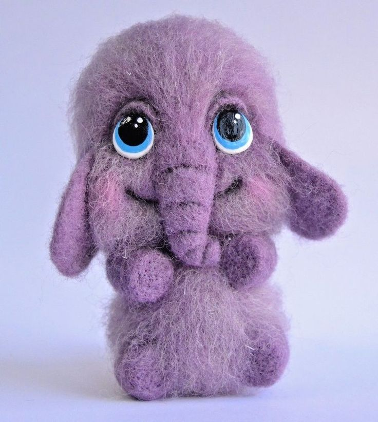 Purple Elephant toy handmade sculpture doll artist felted wool miniature 5in #Handmade