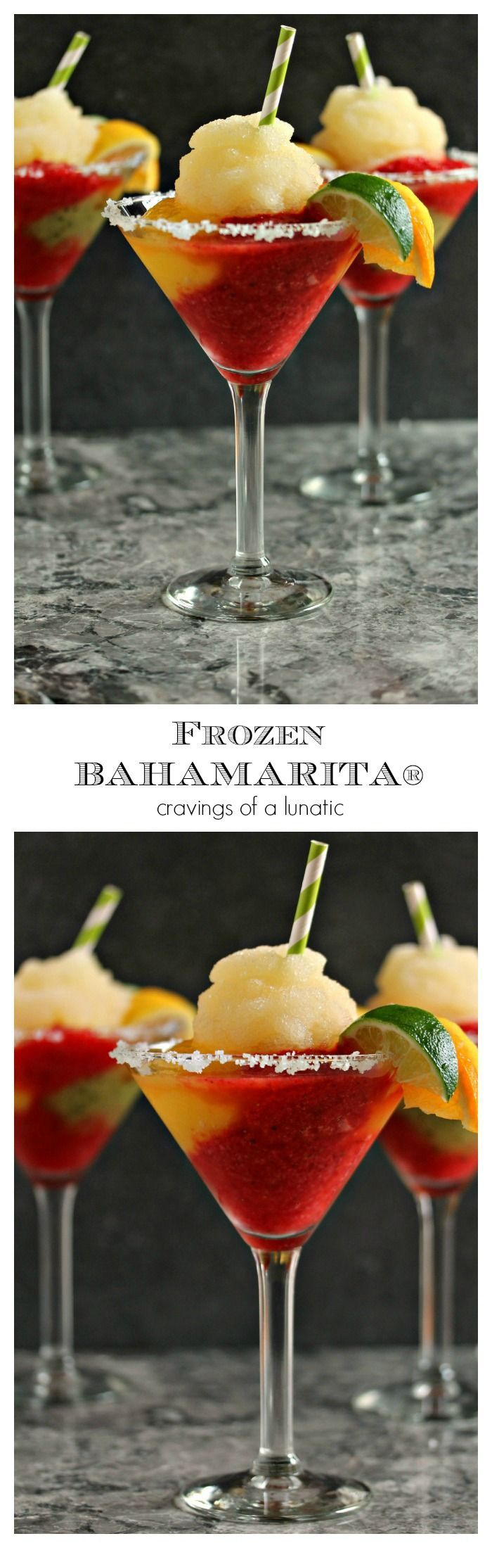 Copycat Frozen Bahamarita from cravingsofalunatic.com. This Frozen Margarita recipe is sure to be a hit at your next party. It is made with Tequila, kiwi, strawberry and mango ices and served with a shot of Cactus Juice Schnapps. There is also a recipe for a virgin version! Happy Hour for all! #drinks #cocktail #beverage #summer