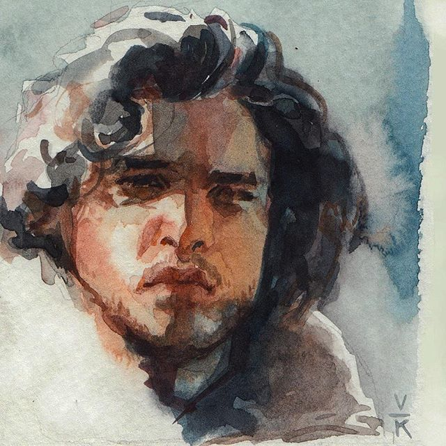 Reposting an older Jon Snow piece. Just because. Nothing significant in sharing this particular portrait of him.  But I thoroughly enjoyed the latest episode, I think they did a good job answering old questions and raising new ones on where this would go. Have you seen the episode? What did you think about it?  #portrait #illustration #watercolor #jonsnow #gameofthrones #stark #nightswatch #thelordcommander #got #art #varsamkurnia