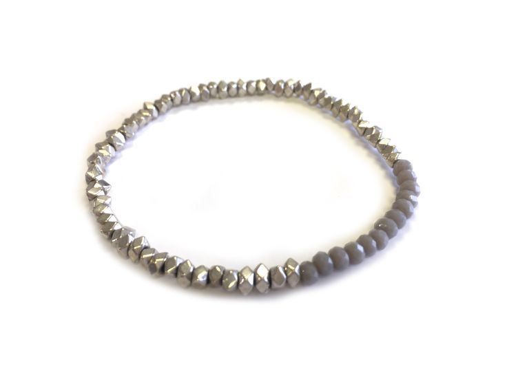 1 line stretch silver nuggets & glass beads bracelet by One Button #elephant #grey #glamorousgreys #bracelet #accessories #onebutton Click to buy from the One Button shop.