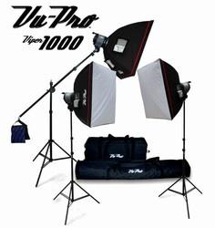 Viper 3000 Triple 1000 Watt Boom Photo Lighting Kit-Continuous Photography Soft box Lighting Package