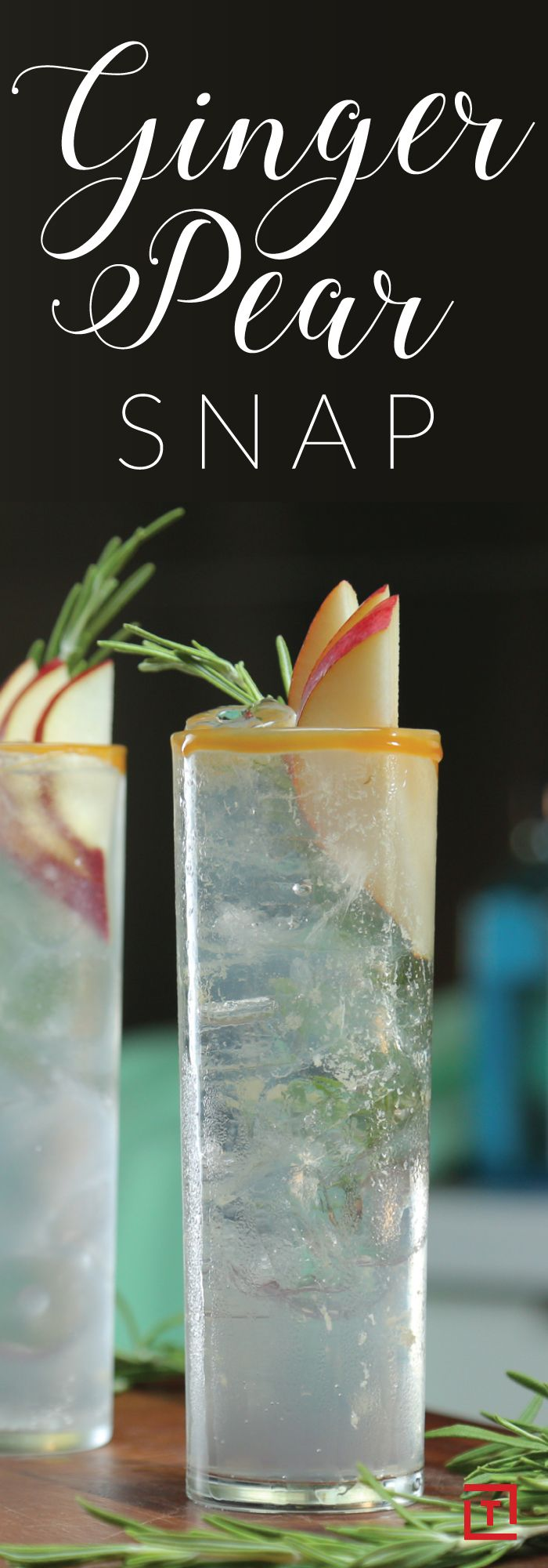 Snap out of summer and into fall with Boulder Locavore's ginger pear snap cocktail made with pear vodka, ginger liqueur, pear soda, lemon juice, and rosemary. Rim with caramel and garnish with a slice of pear and a sprig of rosemary for a refreshing nod to fall.