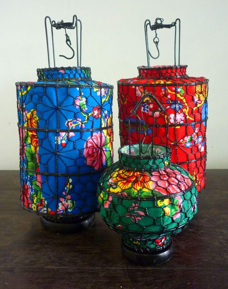 objets : lanternes avec tissu fleuri chinois