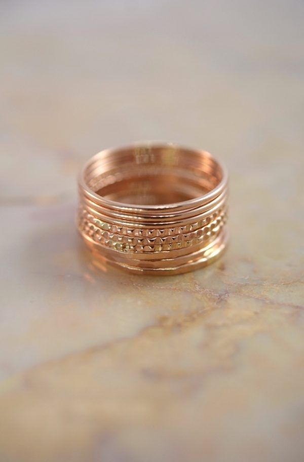 7af6c7f63d543 Medium Thick Lined ring Set of 9, 14K Rose Gold | Jewelry | Gold ...