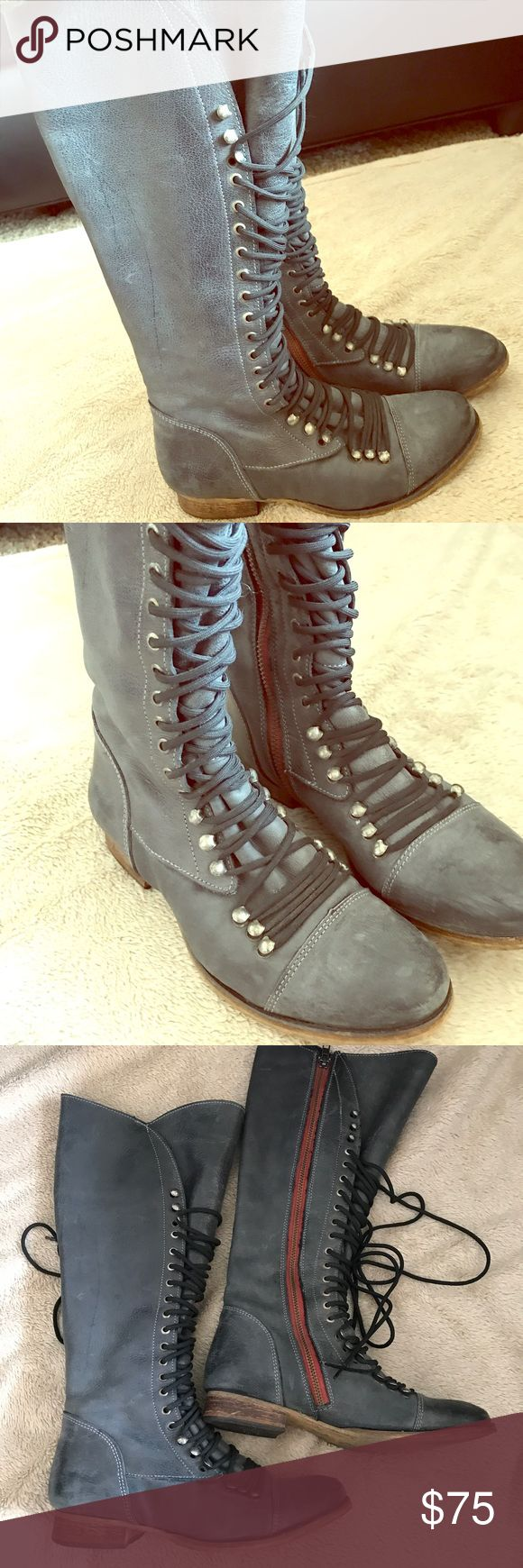 Steve Madden tall lace up boots with side zipper Only worn a handful of times, fits perfectly to calf, great condition Steve Madden Shoes Lace Up Boots