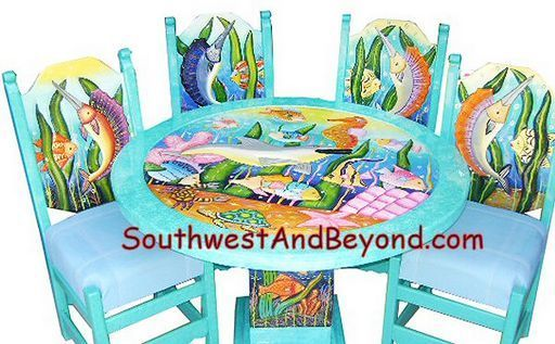 funky painted coastal furniture | 01b - Tropical Fish Table Sets – Hand Carved Painted - 084