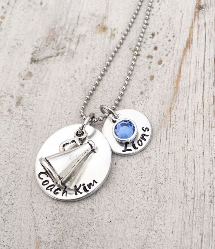 This Cheer coach necklace is a perfect team gift for your Cheer Coach. They are individually personalized with your coaches name.  Stamps of Love Etsy shop https://www.etsy.com/listing/250580799/cheer-coach-necklace-coach-cheer