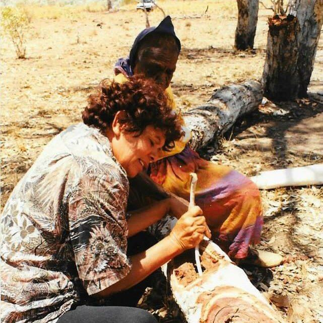 My great Aunty Emily Kngwarreye and Grandmother Barbara Weir searching for Honey Ants out in Utopia. You can not put a price on moments like this that's for sure. #pwerlegallery