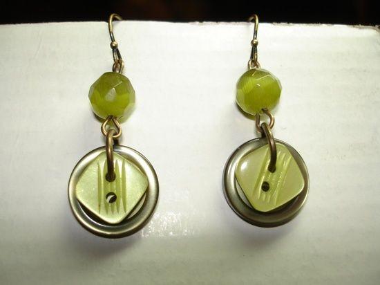 Green Button Earrings - Dangle Button Earrings - Button Jewelry - BUTTON EARRINGS. $8.00, via