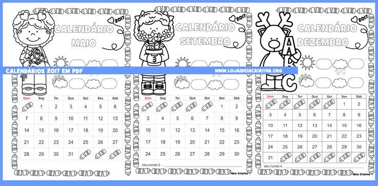 Calendários mensais para imprimir grátis