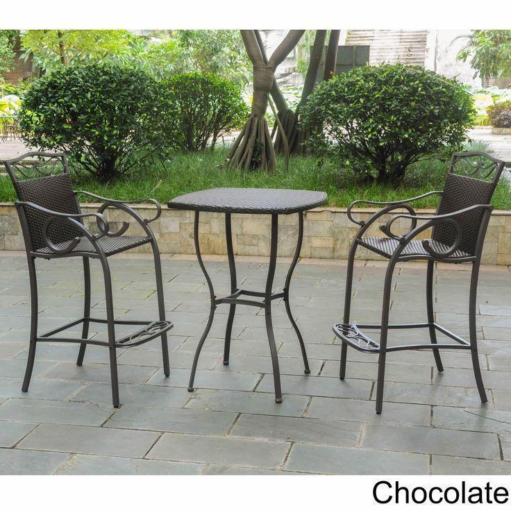 International Caravan Valencia Resin Wicker/ Steel 3-piece Bar-height Bistro Set (Chocolate), Brown, Patio Furniture