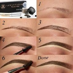 SOLUTION: @anastasiabeverlyhills Brow Genius Kit!! Perfect for me for swimming, gym, or outside activities ;) Step1. Comb brows and mix products. Step2. Outline bottom of brows. Step3. Outline top of brows. Step4. Fill in brows and brush out product with spooly. Step5. Clean up bottom of brows with concealer. Step6. Blend down the concealer & Brush out extra product from the front of the brows for a gradient affect and your done! :) by ZombieGirl