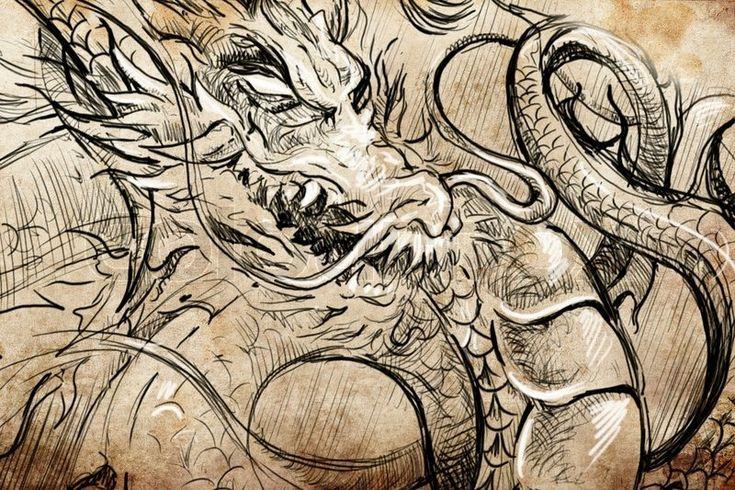 Stock Bild von 'Japanische Drachenkopf Tattoo sketch handgefertigten ...