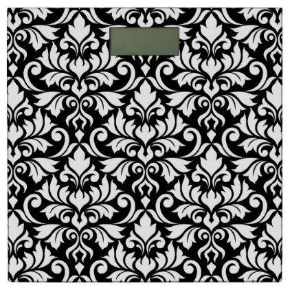 #Flourish Damask Lg Pattern White on Black Bathroom Scale - #Bathroom #Accessories #home #living
