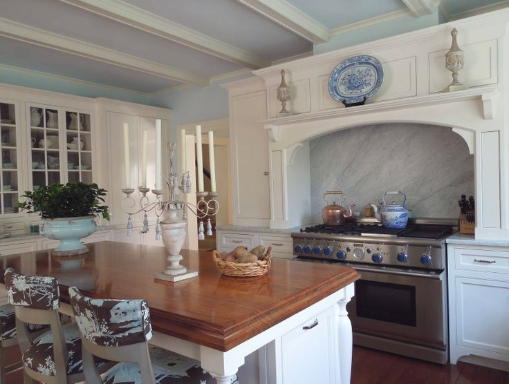 Walnut Top Island Warms Up The Blue And White Kitchen Toile Upholstered Stools