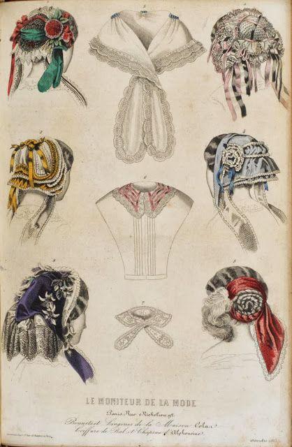 In the Swan's Shadow: Le Moniteur de la Mode, 1855.  Civil War Era Fashion Plate  Caps & chemisettes