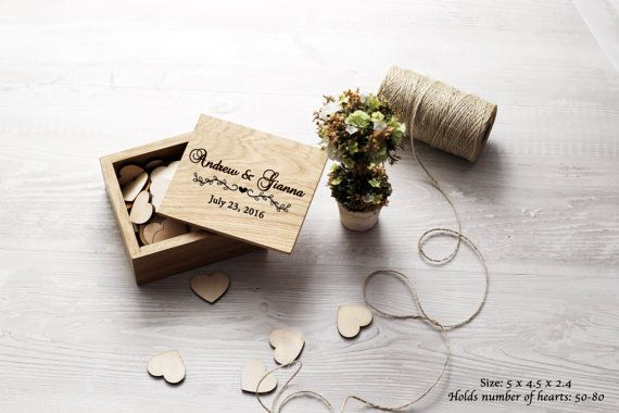 Scatola di legno per cuori Guest Book matrimonio alternativo auguri Box…
