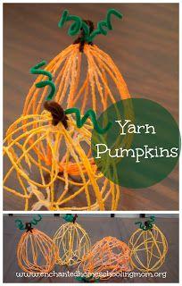 Yarn Pumpkins - Enchanted Homeschooling Mom